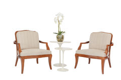 Tabela e cadeiras modernas de madeira Fotos de Stock
