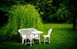 Tabela e cadeiras na grama Imagens de Stock Royalty Free