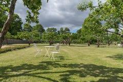 Tabela e cadeiras no jardim velho Foto de Stock