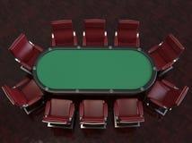 Tabela e cadeiras sentidas profissionais do jogo de pôquer ilustração stock