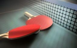 Tabela e pás do tênis de mesa Imagem de Stock