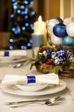 Tabela elegante do Natal azul e branco Imagem de Stock Royalty Free