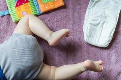 Tabela em mudança do bebê Foto de Stock