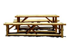 Tabela feita do bambu no fundo branco fotografia de stock royalty free