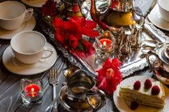 Tabela festiva belamente servida Imagens de Stock Royalty Free