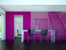 Tabela grande do design de interiores moderno da sala de jantar atrás dos glas Imagem de Stock