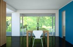 Tabela grande do design de interiores moderno da sala de jantar atrás dos glas Fotos de Stock