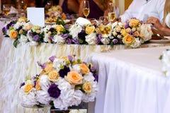 Tabela luxuosa do feriado ou do casamento Imagens de Stock Royalty Free