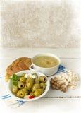 Tabela Painterly com sopa e cogumelos Imagem de Stock Royalty Free