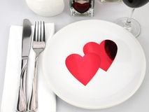 Tabela para a refeição romântica Fotos de Stock