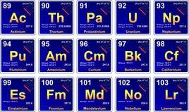 Tabela periódica, actinidas Fotos de Stock Royalty Free