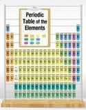 Tabela periódica dos elementos que consistem nos tubos de ensaio com os nomes e o número de cada elemento Foto de Stock