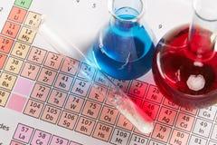 Tabela periódica e produtos químicos imagem de stock