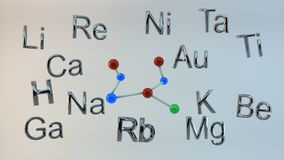 Tabela periódica em 3d Imagem de Stock