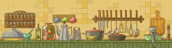 Tabela sem emenda da cozinha Imagens de Stock Royalty Free