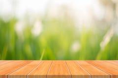 Tabela vazia da placa de madeira na frente do fundo borrado Perspec fotografia de stock