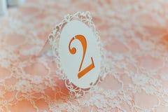 Tabelas da numeração no casamento Imagens de Stock