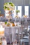 Tabelas e decorações do casamento Fotos de Stock Royalty Free