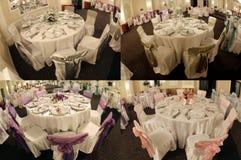 Tabelas em um salão de baile do casamento, multicam, separação em quatro porções, grade 2x2 da tela Foto de Stock