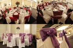 Tabelas em um salão de baile do casamento, multicam, separação em quatro porções, grade 2x2 da tela Fotos de Stock Royalty Free