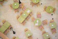 Tabelas no café da vista superior Fotografia de Stock