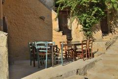 Tabelas velhas em Capoliveri, a Ilha de Elba fotos de stock royalty free