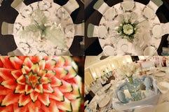 Tabelas vistas de cima de, pronto para o casamento, multicam, grade 2x2, separação da tela em quatro porções Imagem de Stock Royalty Free