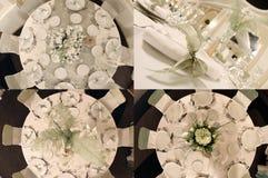 Tabelas vistas de cima de, pronto para o casamento, multicam, grade 2x2, separação da tela em quatro porções Fotografia de Stock Royalty Free