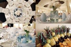 Tabelas vistas de cima de, pronto para o casamento, multicam, grade 2x2, separação da tela em quatro porções Fotos de Stock Royalty Free