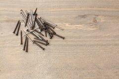 tabele drewnianą paznokcie Obrazy Royalty Free