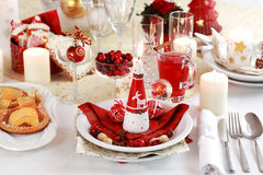 Tabele o ajuste para o Natal Fotografia de Stock