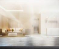 Tabellöverkant och suddighetskontor av bakgrund royaltyfria foton