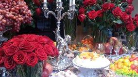 Tabell av mat och frukter Royaltyfri Fotografi