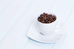 tabell för bönakaffekopp Fotografering för Bildbyråer