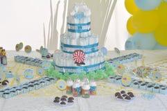 Tabell för baby showerparti Royaltyfria Bilder