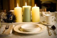 tabell för elegant inställning för jul enkel Arkivfoto