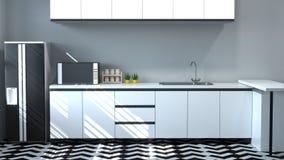 Tabell för inre matlagning för köksskåp vit, modern design för hem för tolkning för matrestaurang 3d för kopieringsutrymmebakgrun royaltyfri fotografi