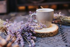 tabell för kaffekopp Kopp av varmt lattekaffe i den avslappnande tiden Kopp kaffe på trä Lavendel Arom av lavendel Arom av royaltyfria bilder