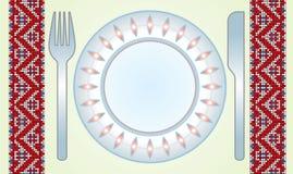 tabell för kniv för torkdukematrättgaffel Stock Illustrationer