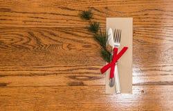 Tabell för kunglig person för infall för julmatställe dinning vit Arkivfoton