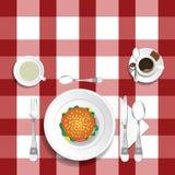 Tabell för lunch med hamburgareillustrationuppsättning en vektor illustrationer
