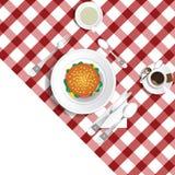 Tabell för lunch med hamburgareillustrationuppsättning två stock illustrationer