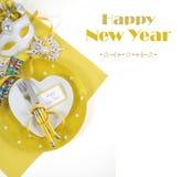 Tabell för lyckligt nytt år med prövkopiatext Arkivbilder