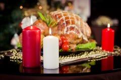 Tabell för matställe för nytt år för jul Arkivbild