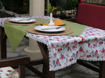 tabell för serving för förberedelse för cafeferie inre till Fotografering för Bildbyråer