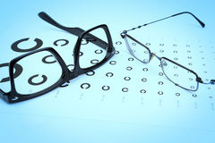Tabell Golovin och prov för exponeringsglasöga. Arkivfoton