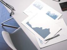 Tabell med affärsdiagram framförande 3d Arkivbild