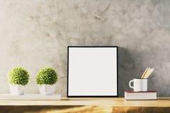 Tabell med den vita ramen arkivbilder