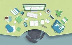 Tabell med fördjupningen, stol, bildskärm, böcker, anteckningsbok, hörlurar, telefon Modern och stilfull arbetsplats vektor royaltyfri illustrationer