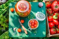 Tabell mycket av ingredienser för att grava tomater Arkivfoto